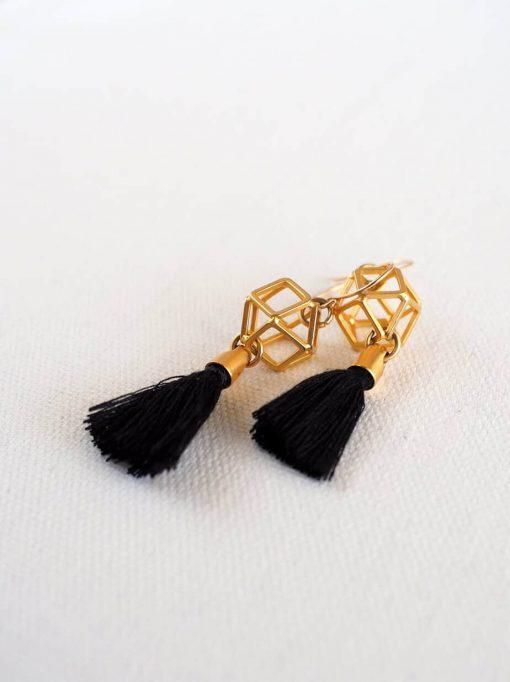 עגילי מולקולה זהב שחור