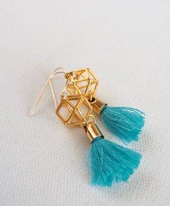 עגילי מולקולה זהב טורקיז