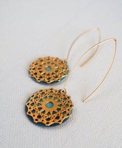 עגילי מנדלה טורקיז זהב