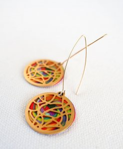 Colorful stained glass earrings