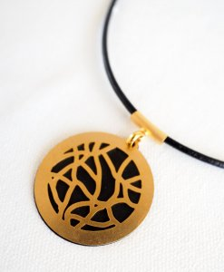Modern stained glass chain - black gold