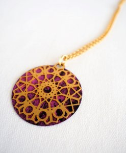 A turquoise cosmic flower necklace