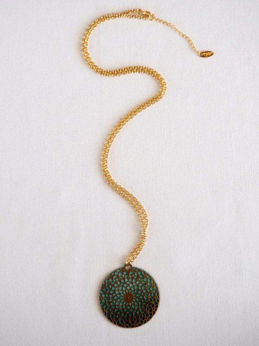 שרשרת מנדלת זרע החיים טורקיז ארוכה