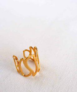 טבעת עלי לוטוס מודרנית מוזהבת