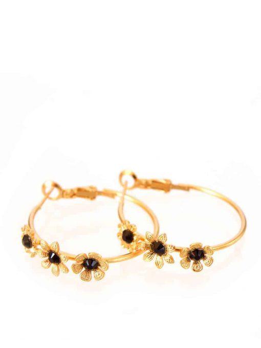 עגילי חישוקים פרחוניים זהב שחור