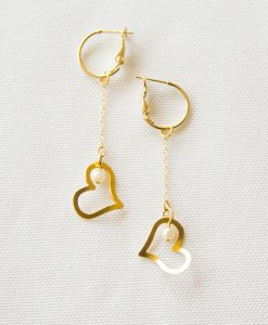 Hearts and pearls earrings