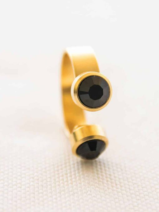 """טבעת """"דאבל פאן"""" זהב שחור"""
