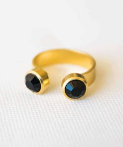 """Double Pan"" ring gold black"