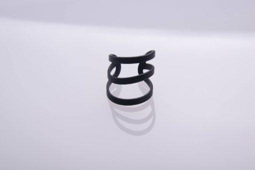 טבעת 3 פסים שחורה
