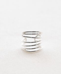 Silver striped ring